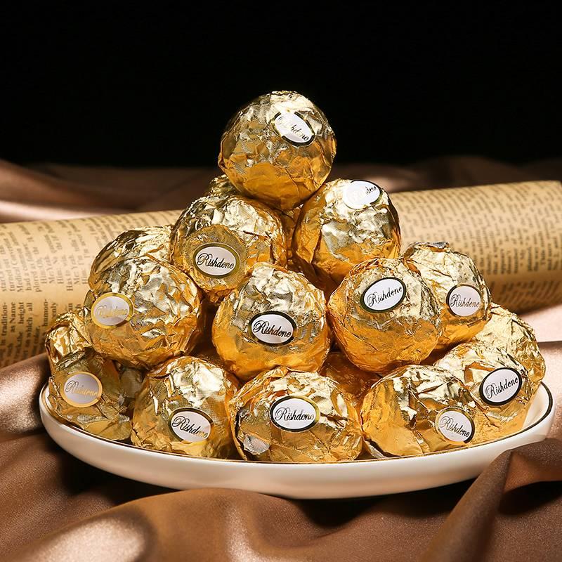 金沙夹心巧克力球散装结婚婚庆婚礼喜糖5斤瑞诗丹莲金莎巧克力批