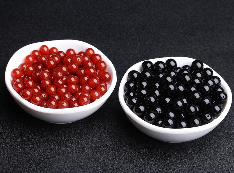 天然黑红玛瑙散珠子半成品7A级圆珠配珠DIY手工编织材料手链配件