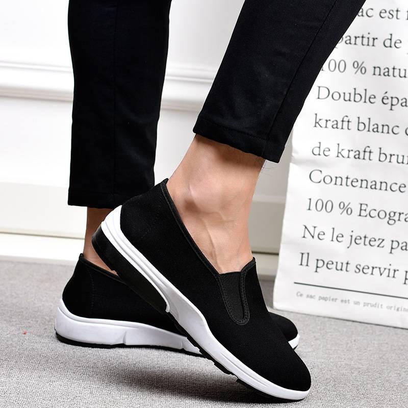 新款男式老北京布鞋 简约低跟工作单鞋 透气黑色一脚蹬中老年布鞋