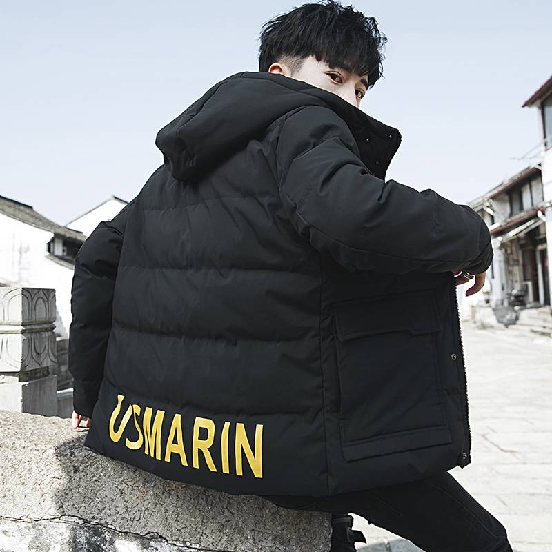 北极绒男士冬季新款韩版潮流棉衣连帽工装棉服潮牌时尚棉袄外套
