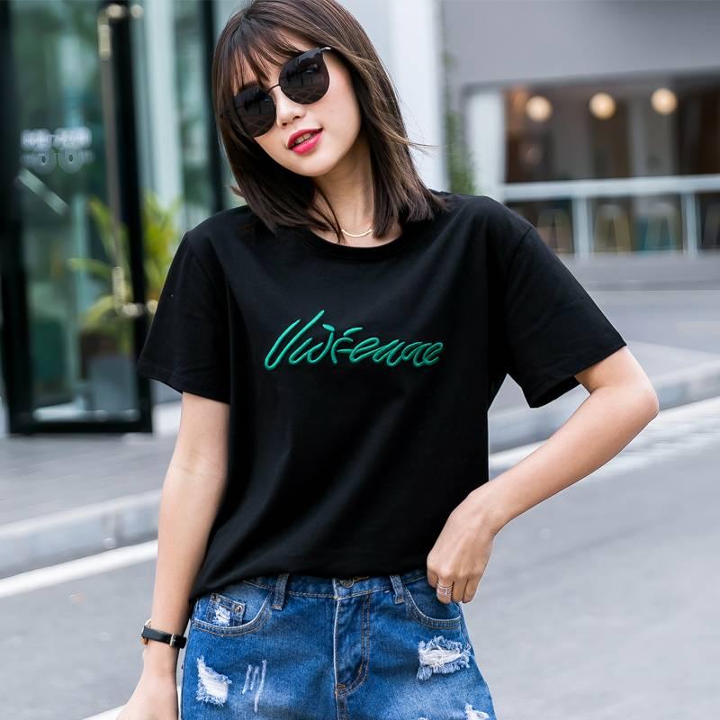 纯棉刺绣T恤衫短袖上衣女2019夏季韩版新款宽松白色大码学生体恤