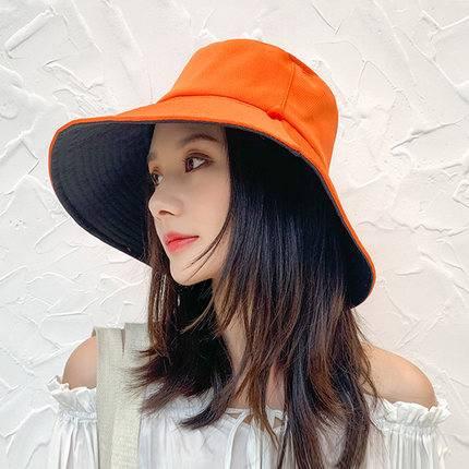 大沿渔夫帽女夏韩版百搭遮阳帽防紫外线防晒帽子时尚遮脸太阳帽潮