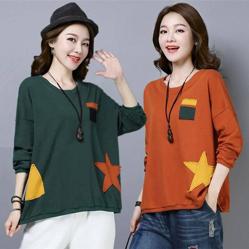 18韩版潮大码女装2019秋季新款薄款贴布长袖T恤女打底衫女上衣服