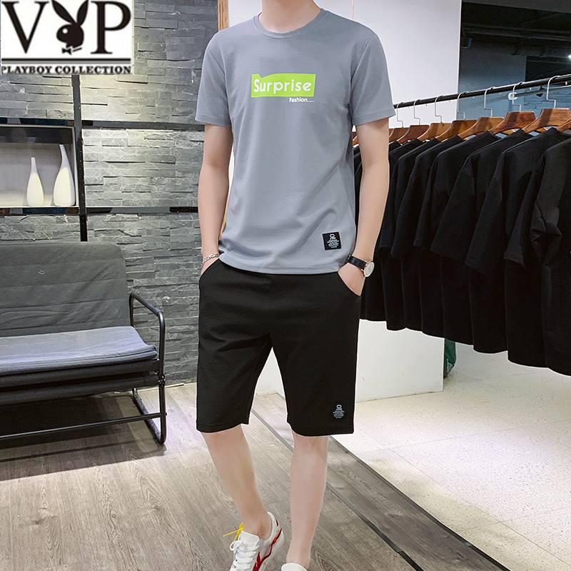 花花公子贵宾短袖T恤 2019夏季新款男装丅恤男士两件套装