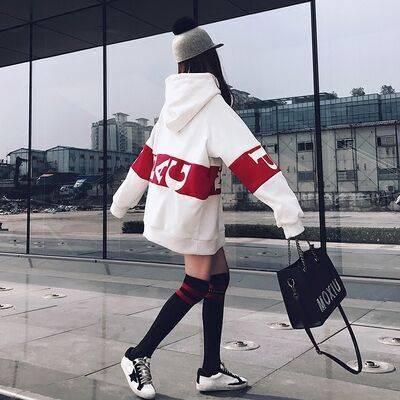 07韩版字母bf风中长款卫衣裙加绒加厚保暖卫衣女学2019秋冬季女装