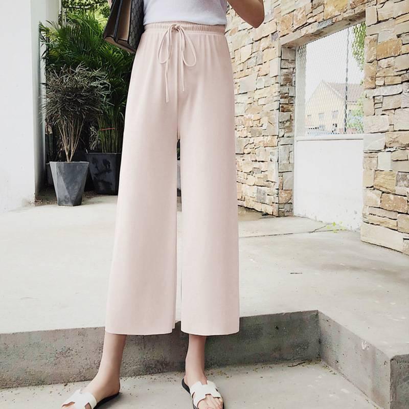 冰丝针织阔腿裤女春夏季九分薄款垂感坠感直筒高腰宽松学生休闲裤