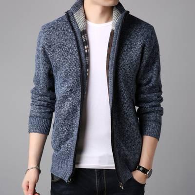 2019秋季新品潮牌针织衫恤韩版修身长袖夹克外套男装