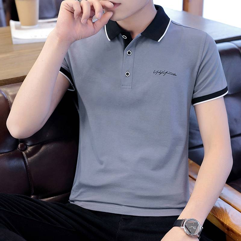戈格米短袖t恤POLO衫男士修身春夏季纯棉休闲商务潮流上衣服翻领