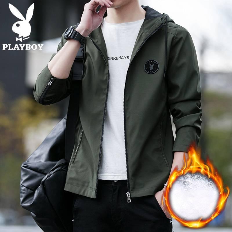 花花公子贵宾男士外套新款韩版时尚休闲加棉加厚上衣青年帅气夹克