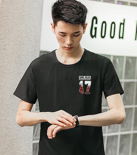 夏季韩版男士T恤男短袖圆领宽松大码体恤半袖速干休闲冰丝潮男装