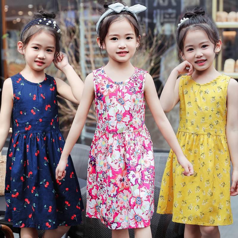 中小女童纯棉碎花连衣裙儿童装韩版公主裙绸缎宝宝童裙子2020夏季