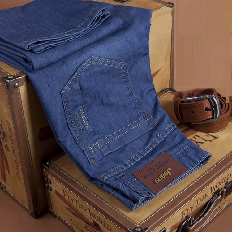 春夏季男士牛仔裤直筒宽松大码薄款男装中年中高腰青年休闲长裤子