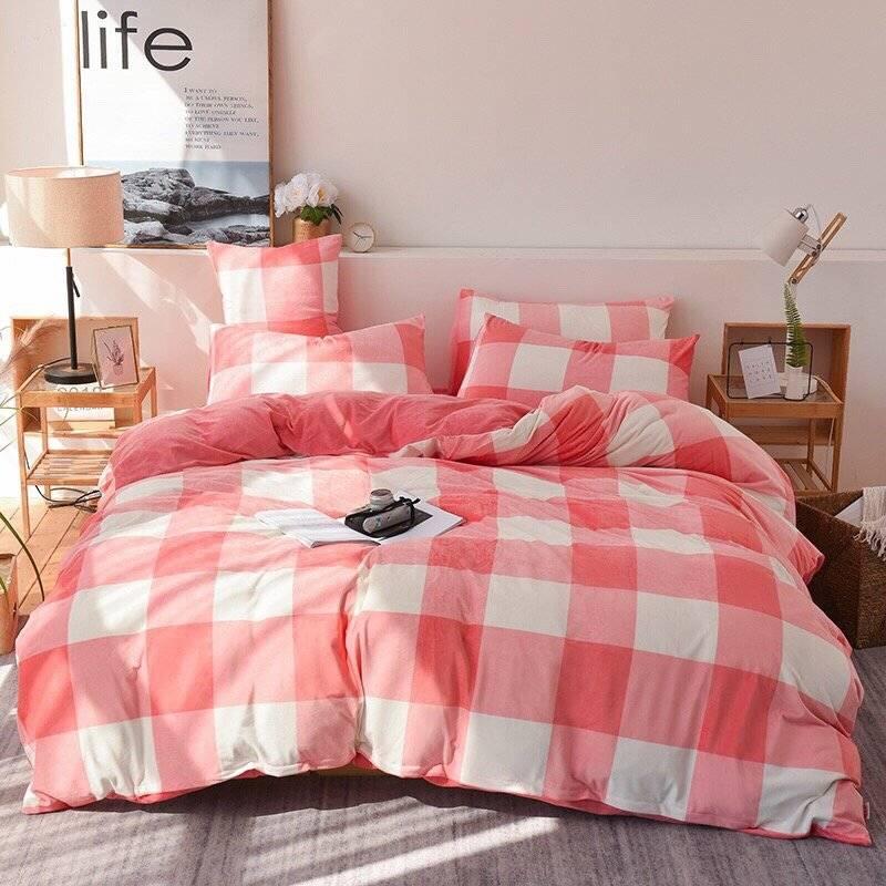 网红简约冬季加厚保暖宝宝绒四件套双面水晶绒被套床上用品-给呗网