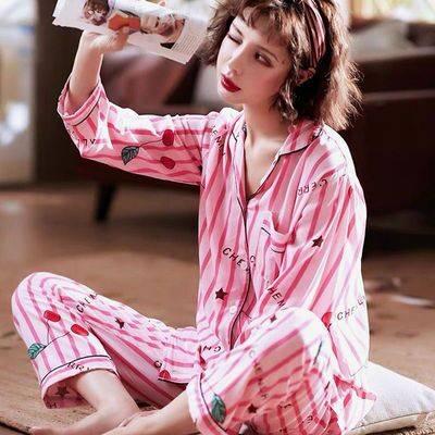 开衫睡衣女长袖春秋新款宽松加大码睡衣女家居服长裤长袖