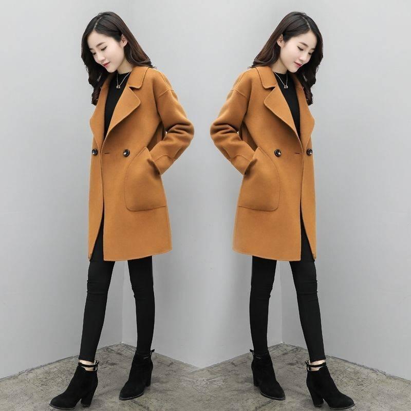 加棉大码毛呢外套女中长款上衣2019秋冬季新款宽松显瘦呢子大衣12