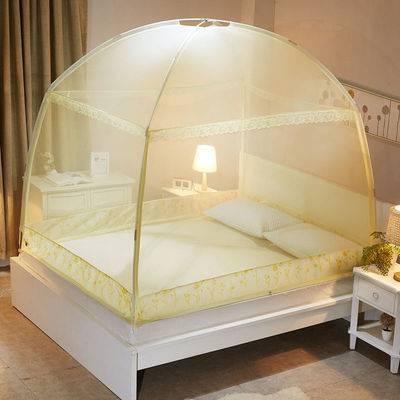 夏季蒙古包蚊帐U型三开门1.8床1.5m双人家用加密加厚床上用品蚊帐