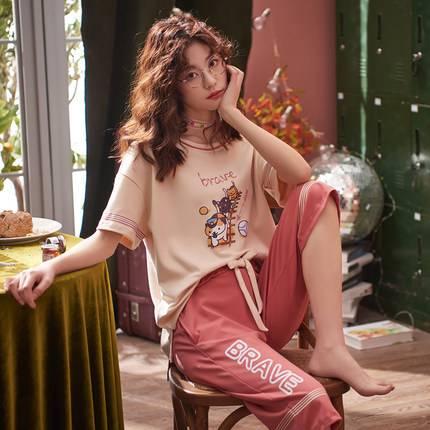 俞兆林睡衣女夏纯棉薄款短袖七分裤卡通韩版少女夏天宽松家居服