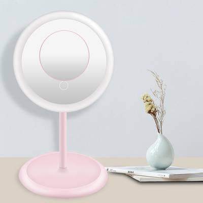 化妆镜子led带灯折叠宿舍台式美妆小镜子桌面便携随身化妆镜学生