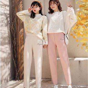 樱花萝卜直筒哈伦网红奶奶加绒裤