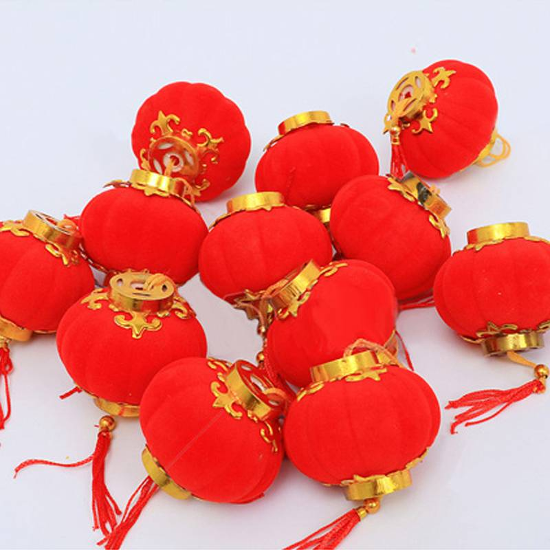 6#植绒小灯笼挂饰树上新年大红户外室内盆景结婚喜庆装饰场景布置