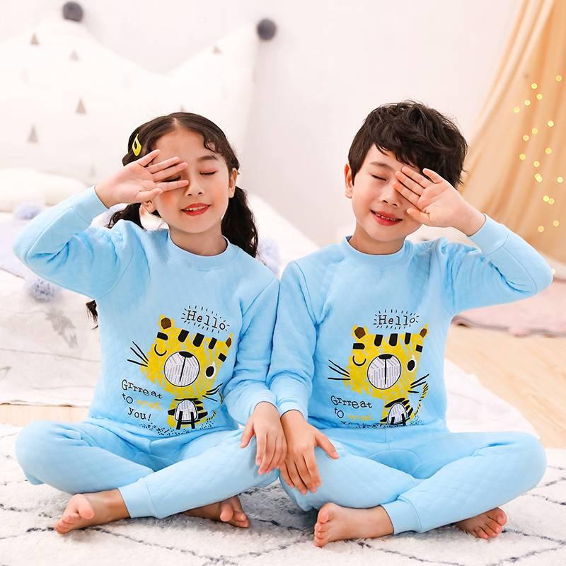 儿童保暖内衣套装三层男女童秋衣秋裤男女童睡衣冬季中大童家居服