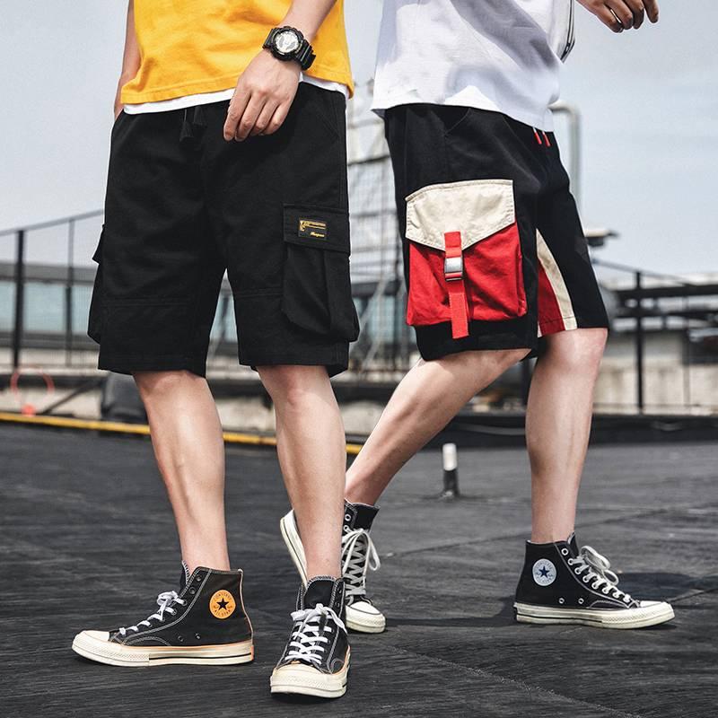 夏季潮男新款宽松休闲短裤 男生薄款裤子韩版潮流五分工装裤