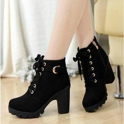靴子女马丁靴2019新款秋冬季时尚中筒短靴粗跟加绒保暖高跟女靴子