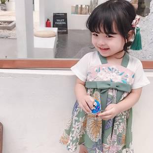 漢服女童夏裝中國風2019新款女古裝兒童小女孩超仙襦裙仙女連衣裙