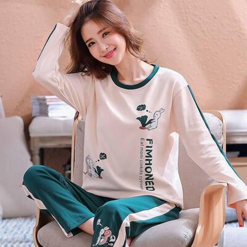 长袖韩版睡衣女春秋夏季纯棉女士可爱家居服两件套装女可外穿休闲
