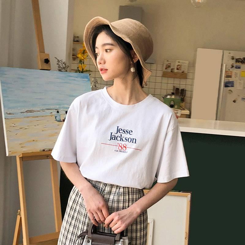 韩版2019夏季女士短袖T恤纯棉全棉新款百搭款圆领纯色佛系印花