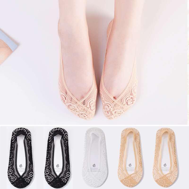 全隐形船袜女士浅口短袜硅胶防滑蕾丝不掉跟透气袜子夏天超薄款潮