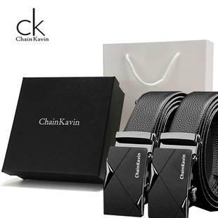 專柜正版ChainKavin/CK皮帶男真皮商務自動扣青年牛皮腰帶禮盒ins
