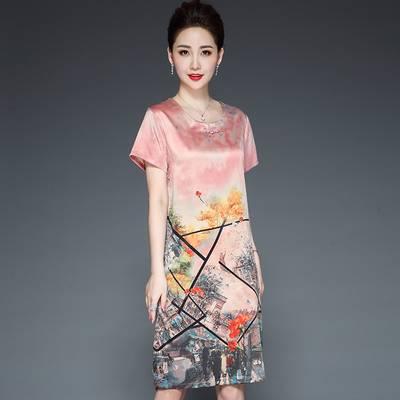 旗袍改良真丝连衣裙2019新款夏季阔太太中年妈妈装丝绸桑蚕丝裙子