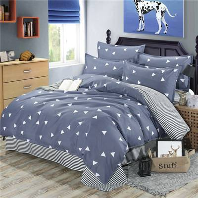 新款北欧床上用品简约超柔纯色绣花四件套床单被套家纺
