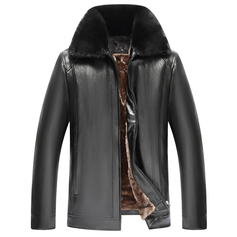 冬季男士大毛领爸爸装皮夹克外套加绒加厚中老年pu皮衣男宽松大码