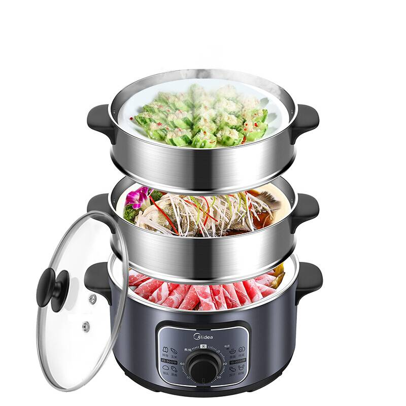 美的电蒸锅多功能家用小电蒸笼多层蒸锅大容量蒸菜锅插电蒸汽锅