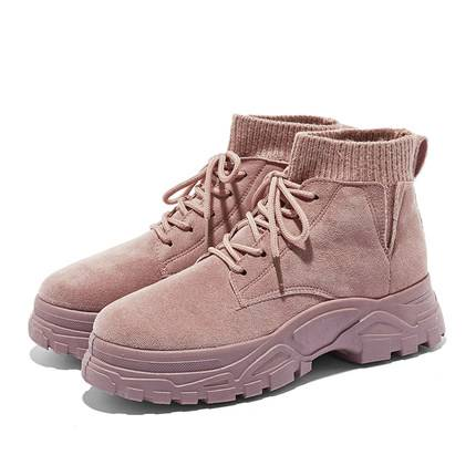 HSEK2019新款网红马丁靴短靴女秋季工装靴百搭英伦风休闲高帮靴子
