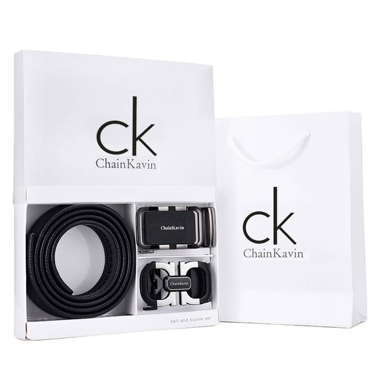 专柜新款CK皮带男真皮菲拉8字自动扣网红款青年潮纯牛皮腰带礼盒