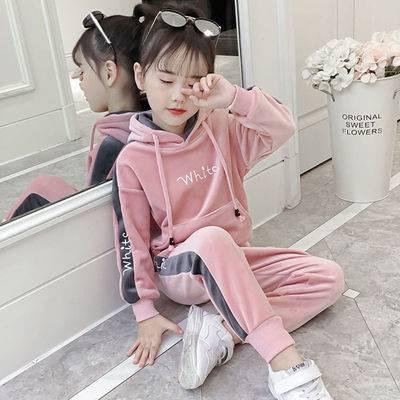 女童秋装套装2019新款韩版洋气金丝绒冬款加绒加厚中大童两件套潮