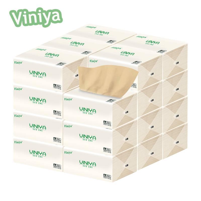 viniya本色抽纸批发整箱家庭装家用实惠装加厚纸巾卫生纸抽餐巾纸