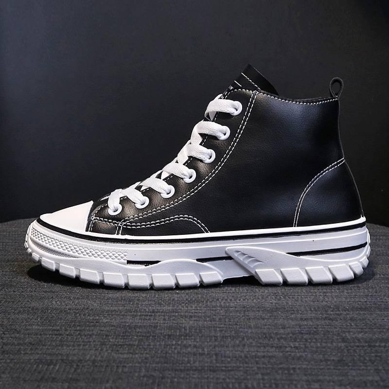 马丁靴女秋季薄款透气英伦风2019新款沙漠靴百搭学生高帮帆布短靴