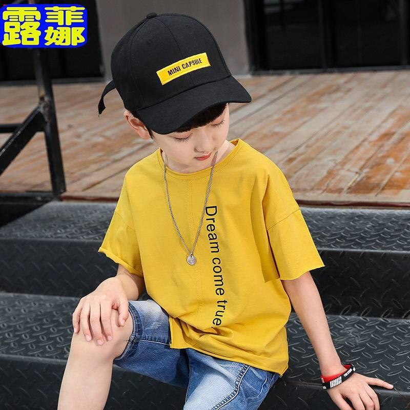 儿童纯棉男童童装字母印花短袖t恤2019夏装新款中大儿童半袖衫潮