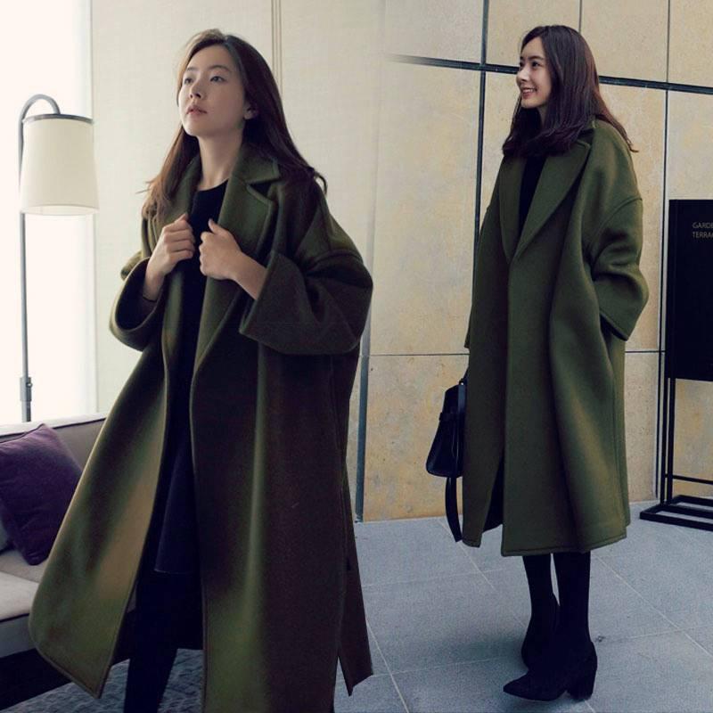 秋冬季新款毛呢外套加厚大码韩版呢大衣女士外套宽松中长款女装05