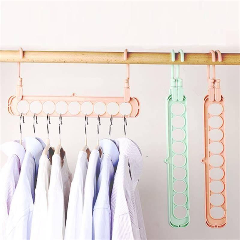 多功能折叠衣架收纳神器省空间创意九孔晾晒衣架子魔术挂衣服家用