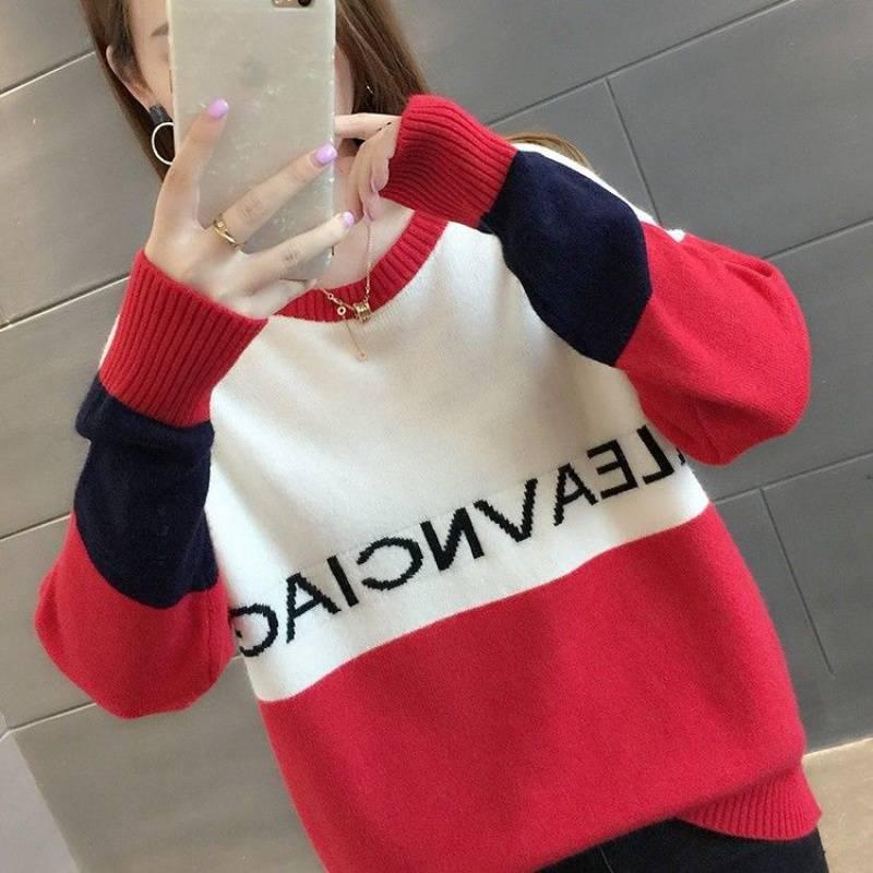 加绒不加绒新品韩版宽松长袖打底小清新学生针织毛衣女10