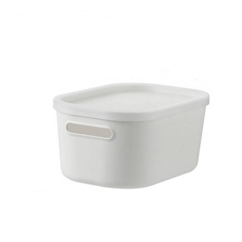 家用桌面收纳盒杂物塑料收纳箱带盖防尘学生宿舍衣物整理盒储物箱