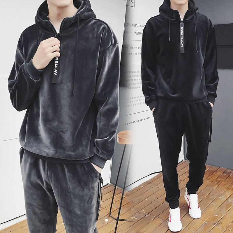 男士卫衣套装连帽金丝绒休闲运动加绒加厚冬天潮流韩版帅气两件套