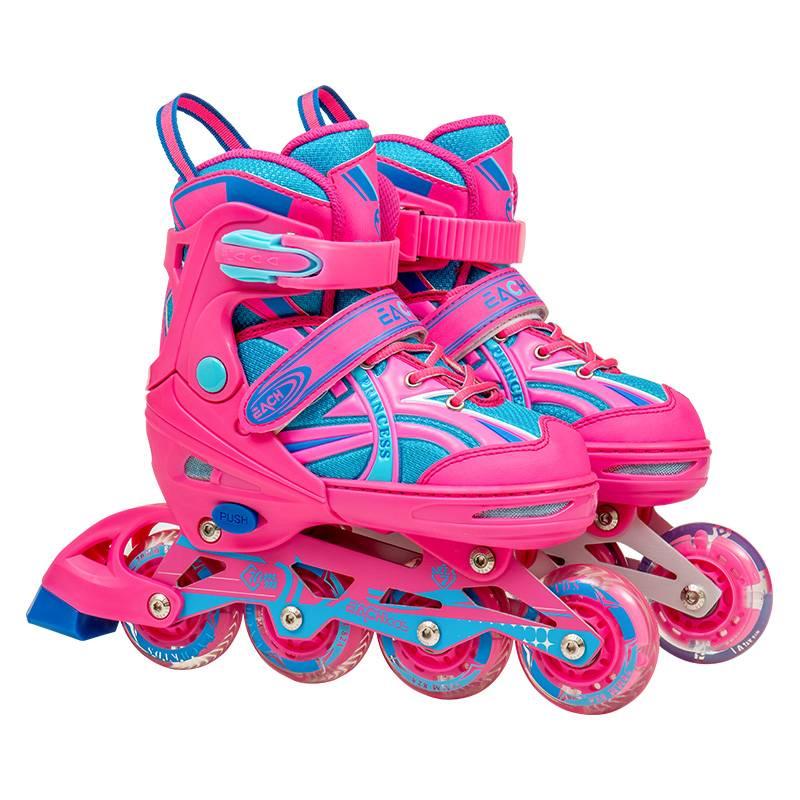 溜冰鞋儿童全套装专业直排轮可调滑冰旱冰鞋轮滑鞋初学者男童女童