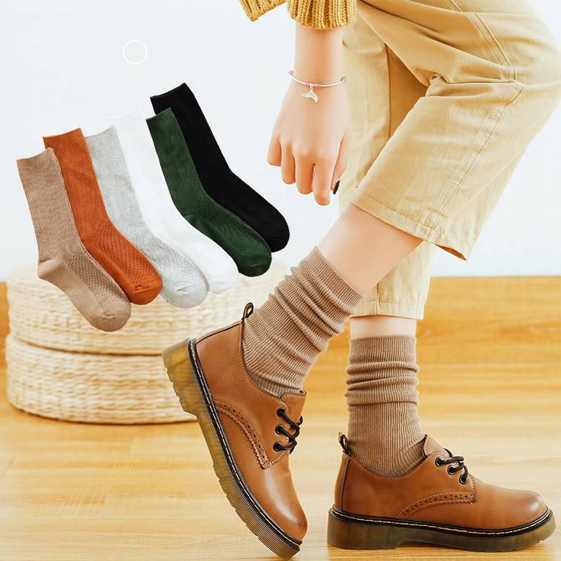 袜子女ins潮中筒黑色日系堆堆袜韩国百搭个性潮流长袜秋冬长筒袜