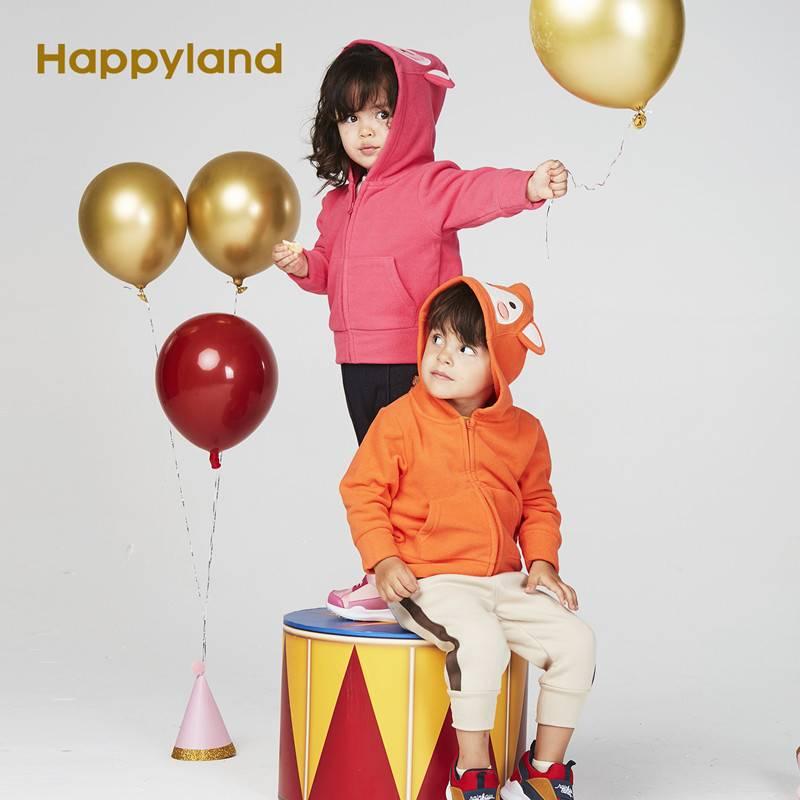 Happyland童装男女童外套2019秋季新款中小童卡通摇粒绒连帽外套